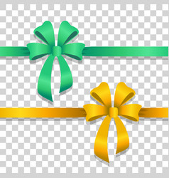 Green and yellow wide ribbons with bright bows vector