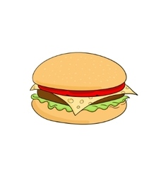 Hamburger food cartoon vector image vector image
