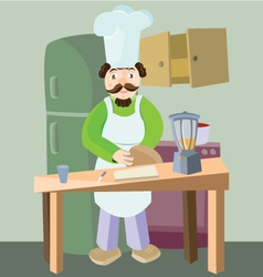 Happy chef cooking food in kitchen vector