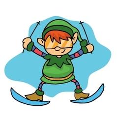 Happy elf skiing Christmas theme vector image vector image