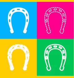 horseshoe sign four styles of icon vector image vector image