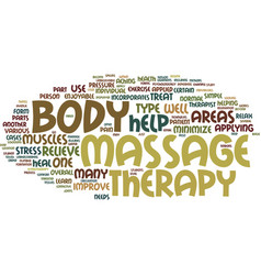 Massage therapy beyond touch text background word vector