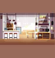 Modern empty bar or coffee shop flat vector