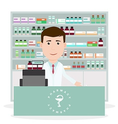 Modern flat of a male pharmacist standing near vector image vector image