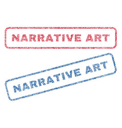 Narrative art textile stamps vector
