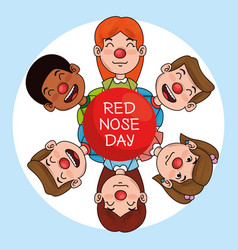red nose day children with red nose vector image