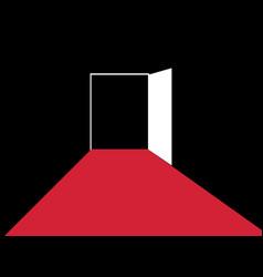Red path to the open door typographic design vector