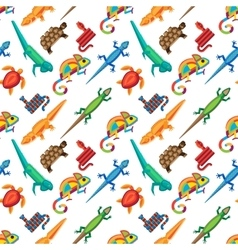 Reptiles animals seamless pattern vector