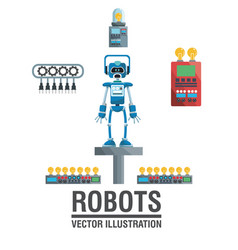Robots industry engineering technology poster vector