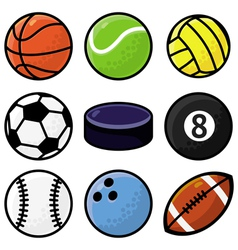 set with sport balls - cartoon vector image vector image
