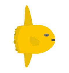 small yellow fish icon isolated vector image vector image