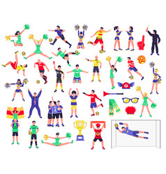 Soccer fan characters set vector