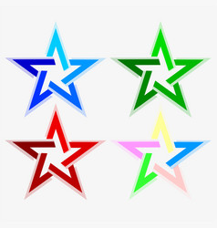 Star abstract look of different colors set vector