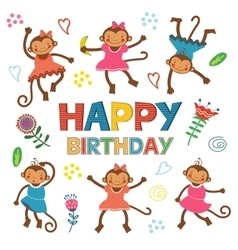 Stylish happy birthday card with cute monkeys vector