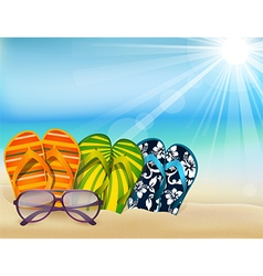 Summer beach sandals colorful flip- flops with sun vector image vector image