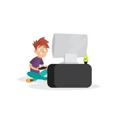 Teenager boy playing in video game cartoon boy vector