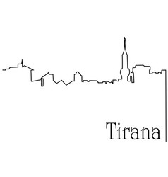 Tirana city one line drawing background vector