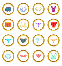 underwear icons circle vector image