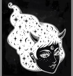 Yokai - demon woman in asian folklore vector