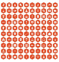 100 crime icons hexagon orange vector