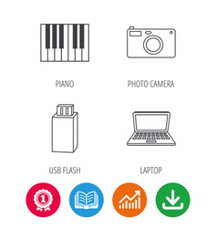 photo camera usb flash and notebook laptop vector image