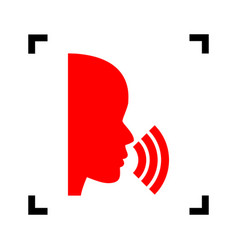 people speaking or singing sign red icon vector image