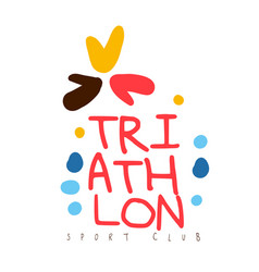 triathlon sport club logo colorful hand drawn vector image