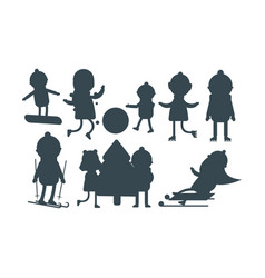Christmas kids silhouette playing winter games vector