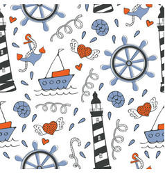 Colorful seamless sea pattern with boats and vector