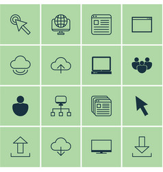 Set of 16 internet icons includes pc send data vector