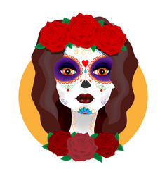 day of the dead beautiful girl with roses vector image