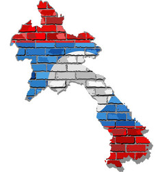 Laos map on a brick wall vector