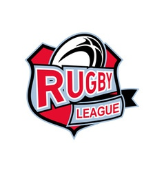 Rugby league ball shield vector