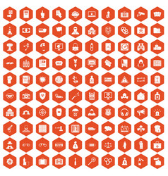 100 crime icons hexagon orange vector