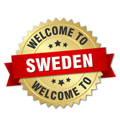 Sweden 3d gold badge with red ribbon vector