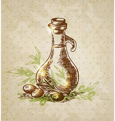 vintage background with olive oil vector image