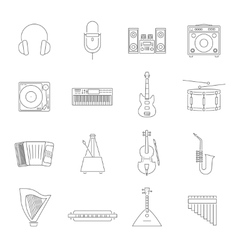 Outline melody icon set vector