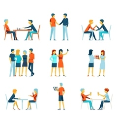 Friendship brotherhood flat icons set vector