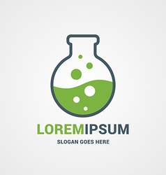 Logo template flask with green liquid and bubbles vector