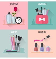Make up flat icons square composition banners vector