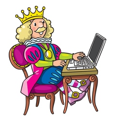Fairy tale king with the laptop or notebook vector