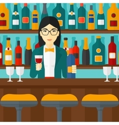 Bartender standing at the bar counter vector
