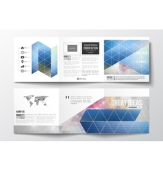 Set of tri-fold brochures square design vector