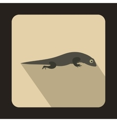 Gray lizard icon flat style vector