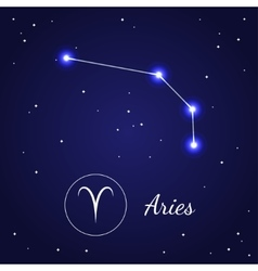 Aries zodiac sign stars on the cosmic sky vector