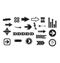 arrow icon set simple style vector image
