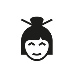 asian woman portrait icon on white background vector image
