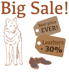Big Sale with wolf leather boots vector image