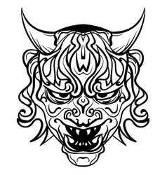 Black and white demon with horns vector
