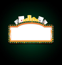 brightly green and orange casino glowing retro vector image vector image